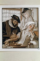 ´Doctor bleeding a patient. Illustration of a 16th century doctor practising bloodletting on a female patient. Doctors at this time followed Greek the...