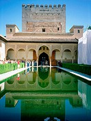 Tower of Comares and Patio de los Arrayanes (Court of the Myrtles), Alhambra. Granada. Spain
