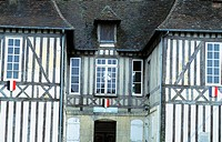 Traditional normand half timbered City Hallo in Le Neubourg. Normandy .France