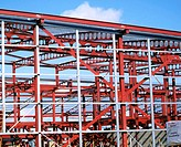 Steel framework, leisure centre under construction