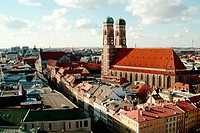 View over Munich from the steeple of Peter's Church (Peterskirche):  the cathedral Womans's Church (Frauenkirche) on the right, the Kaufinger Street a...