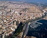 Aerial view of Alicante in Comunidad Valenciana. Spain