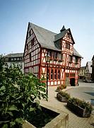 Germany. Rhens, Rhine, Rhineland-Palatinate, half-timbered city hall