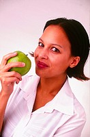 WOMAN EATING FRUIT<BR>Model.