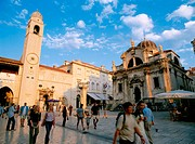 St Blaise Church (right) and clock by tower. Dubrovnik. Croatia