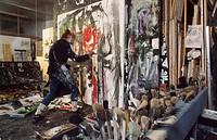 Emilio Vedova, Italian painter, working at his studio, 1987