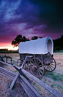 Oregon trail wagon at Whitman Mission National Historic Site. Walla Walla. Washington. USA