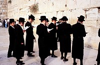 Men at Wailing Wall. Jerusalem. Israel