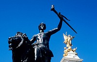 Statue and Victoria Monument, Buckingham Palace, London, England