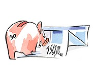Piggy bank and euro invoice