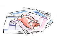 Piggy bank lying on euro invoices