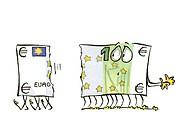 Torn euro bill