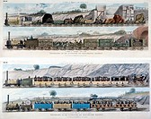 Aquatint, engraved by S G Hughes after a drawing by Isaac Shaw, showing four pictures of trains on the Liverpool & Manchester Railway. The first shows...