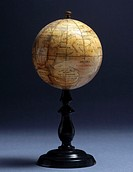 This small printed globe of Mars was produced by J Lebeque and Company, Brussels. The features on the globe are based on the observations made by Loui...