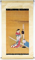 Japanese painting on silk by Nishikawa Sukenobu of the Edo period (1600-1868), showing a woman in a kimono winding up a weight-driven wall clock. With...