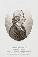 Engraving by Ambroise Tardieu after his original drawing. Joseph Priestley (1733-1804) discovered various gaseous elements and compounds, and in an ex...