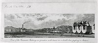 Engraving entitled 'View of the Pneumatic Railway in Operation with Trains on a Double Line Passing a Station'. The idea of pneumatic, or atmospheric ...