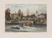 Hand coloured engraving of Twickenham Ait in Middlesex, now known as Eel Pie Island, showing island buildings. Eel Pie Island is an eight acre ait in ...