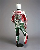 This suit, made of leather by Dainese, was worn by Carl Fogarty (b 1966) during a crash at Misano early in the 1996 World Superbike Championship. Desp...