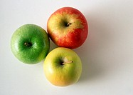 Three different apples, high angle view