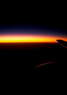 Sunset view of sky from plane