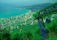 Lebanon, cable car overlooking coastal city