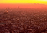 France, Paris, rooftops at sunrise
