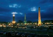 Night scene of Paris, Concorde Obelisk and Eiffel tower in background