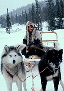Sweden, man sitting on sled pulled by sled dogs