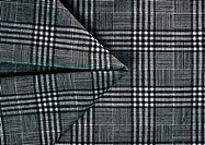 Black and white plaid fabric, close-up, full frame