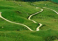 France, Savoie, winding road through grassy hills