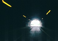 Inside a tunnel, blurry