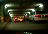 Cars inside a tunnel, blurry