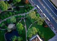 France, Paris, park and road, birdseye view