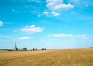 France, Picardy, field with trees and church in distance