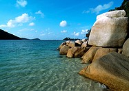 Malaysia, sea and smooth rock