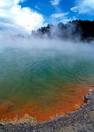 New Zealand, Waiotapu Thermal Park, steam rising over hot spring