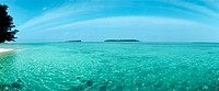 Indonesia, turquoise sea, panoramic view