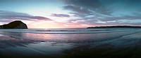 New Zealand, beach at sunset, panoramic view