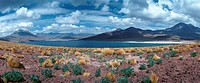 Chile, landscape with lake and mountains, panoramic view