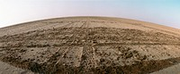 Tunisia, tire tracks in desert, panoramic view