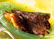 Blackened trout on green plate, close-up