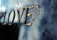 'Love' text embossed in gold