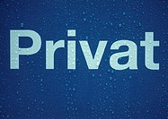'Private' text in german on sign covered with drops of water, close-up