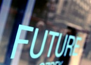 'FUTURE' text, close-up, blurred