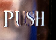 'Push' text, embossed
