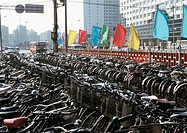 China, Beijing, bicycle parking lot