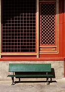 China, Beijing, bench in front of temple