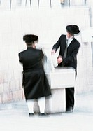 Israel, Jerusalem, two Orthodox Jews, blurred