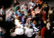 Group of people, high angle view, blurred